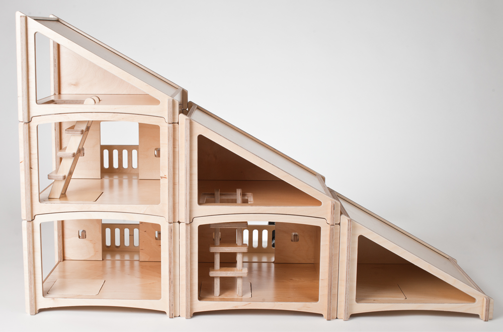 modern wood dollhouse